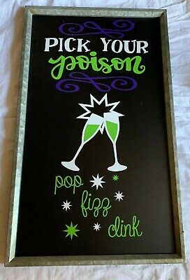 Pick Your Poison Bar Sign Home Decor Halloween EUC