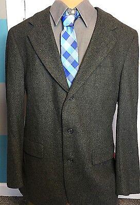 Gant Gray 100% Wool Blazer Sport Coat Jacket Men's Union Made Sz 38 Vintage VTG