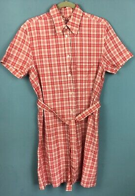 Belted Check Dress (Liberty Red White Check Belted Shirt Dress L 14? - B13)