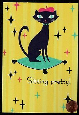 BIRTHDAY Black Cat Kitten Parisian Hat Collar Stars - Birthday Greeting Card - Black Cat Birthday