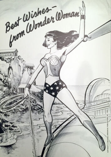 WONDER WOMAN Rare 1976 Postcard in Mint Condition / DC Comics / Lynda Carter