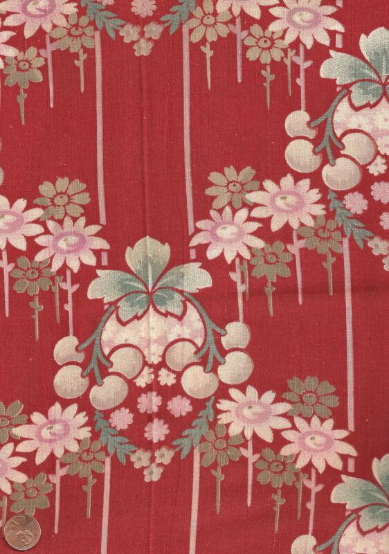 Antique 1880 Large Print Fruit & Floral Fabric