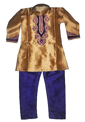 Boys' Designer Kurta Set Indian Party Suit Clothing Gold and Purple Boys Designer Suit