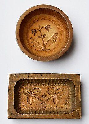 2 große Buttermodel Butterformen Holz handgeschnitzt 19. Jh. Eifel Blumenmotiv