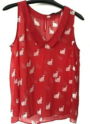Zara Trafaluc Collection Cat Print Tank Top Blouse Womens Size XS Red White