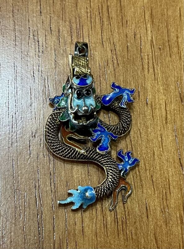 """MID CENTURY CHINESE SILVER AND ENAMEL ORNATE 2"""" DRAGON PENDANT"""