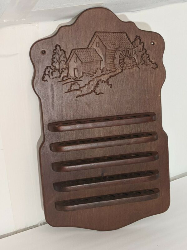 Vintage wood thimble display shelf old mill scene Country kitchen decor rustic