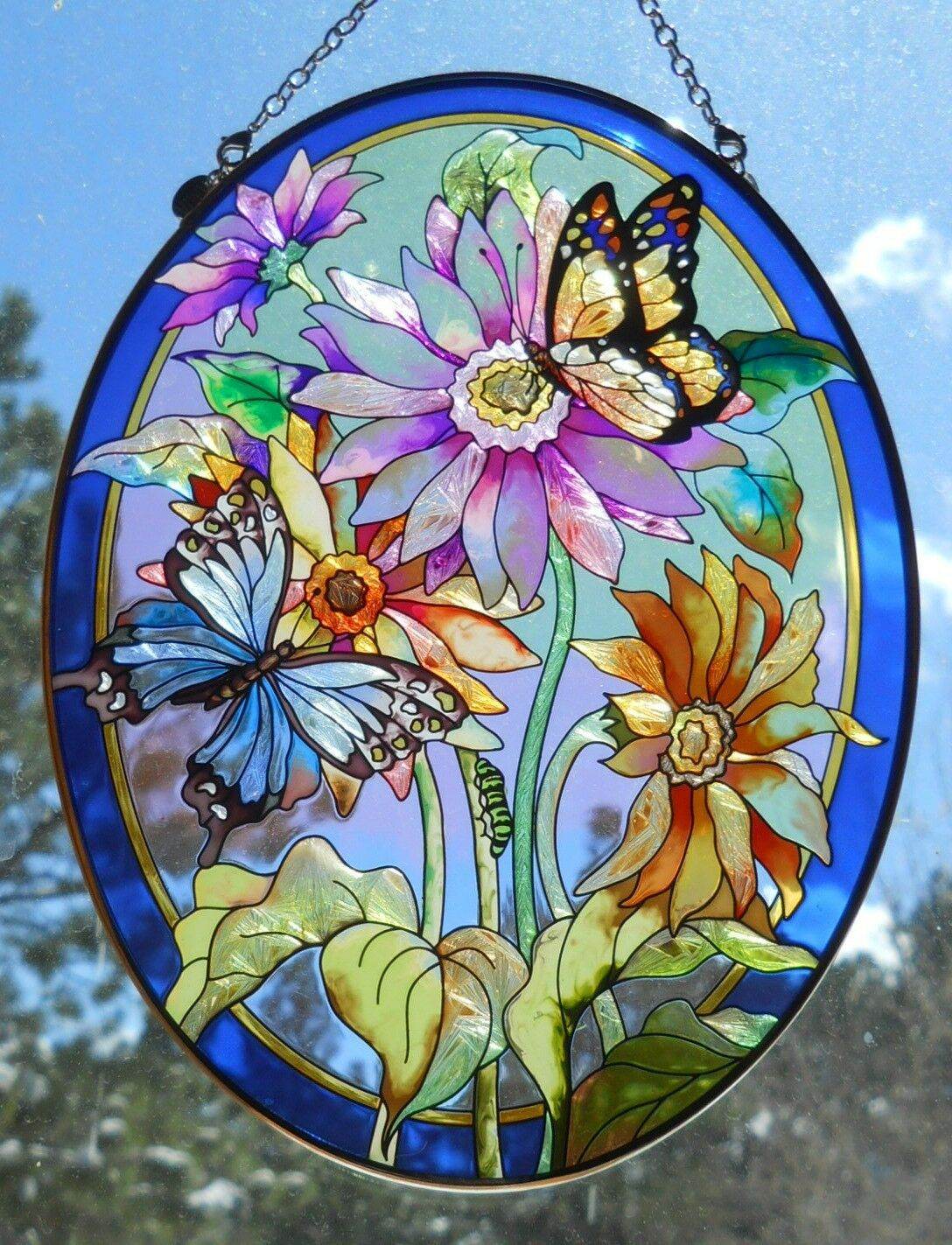 Купить Amia - AMIA Stained-Glass Look Butterflies / Flowers Suncatcher - Hand Painted -  NEW