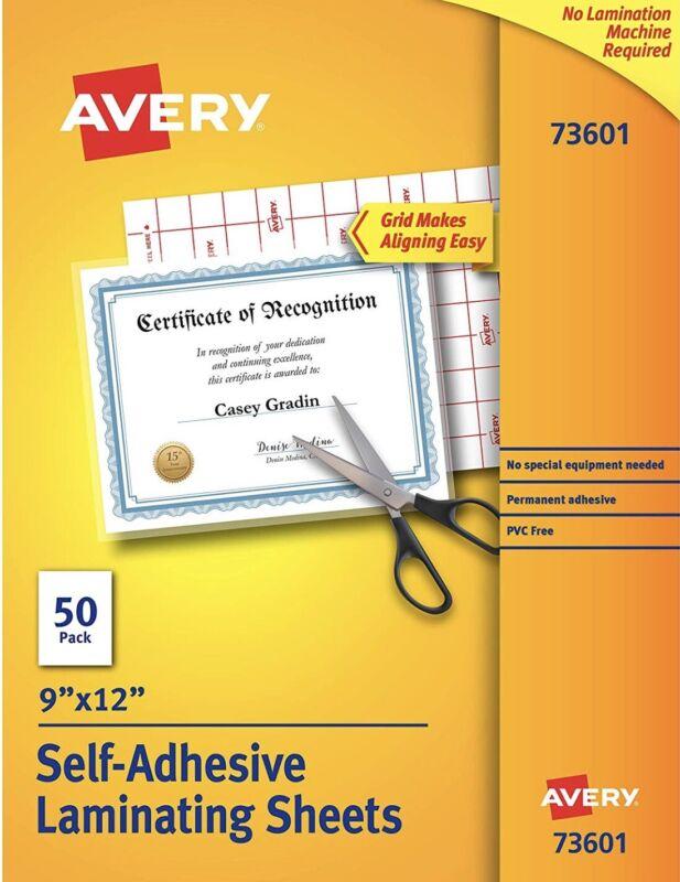 NEW Avery 73601 Self-Adhesive Permanent Laminating Sheets, 9 X 12, 50 Sheets