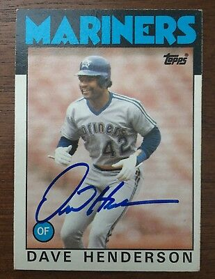 (DAVE HENDERSON 1986 TOPPS AUTOGRAPHED SIGNED AUTO BASEBALL CARD MARINERS 221)