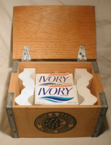 """Ivory Soap Proctor & Gamble Trade Mark Wooden Crate Box with Soap (9""""x6""""x6"""")"""