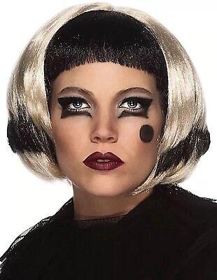 LADY GAGA Wig BLACK BLONDE  2-Tone Halloween Costume Accessory FANCY DRESS - Costume Halloween Lady Gaga