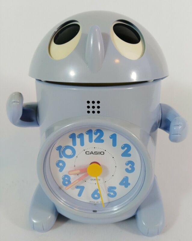 RARE Vintage 1980s Casio  Blue AC-120 Robot Action Alarm Clock Made In Japan