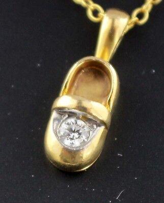 Sweet 14K Yellow Gold & Diamond (.1c) Little Girl Baby Shoe Pendant or - 14k Diamond Girl Charm