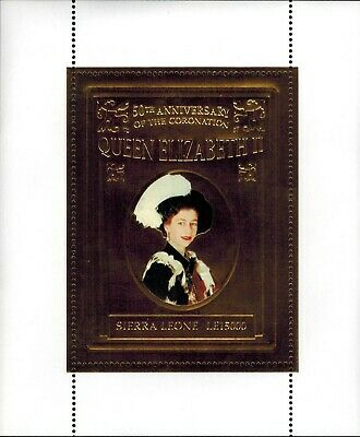 MODERN GEMS - Sierra Leone - Queen Elizabeth II Golden Jubilee - Gold Stamp -MNH