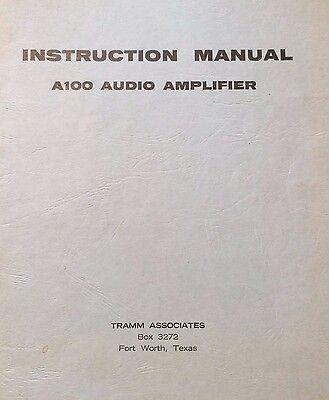 Tramm Audio Amp A100 Audio Install  Service Parts Manual