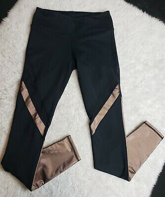 Fabletics Women's Leggings Black Bronze Metallic Gold Mesh Size XS? READ