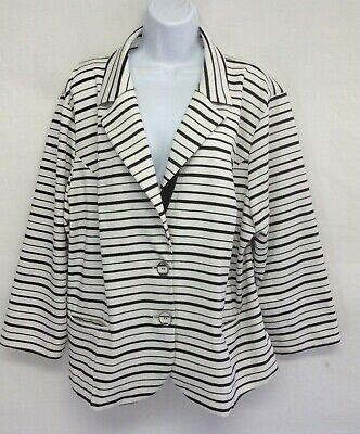 TORRID Women's Jacket Black Stripe Long Sleeve Button Front V Neck Blazer Plus 3 3 Button Black Stripe Jacket