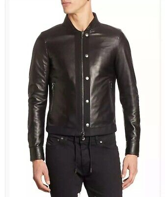 $1195 Diesel Black Gold Men's Lasy Black Leather Jacket Made In Italy Size 46-XS