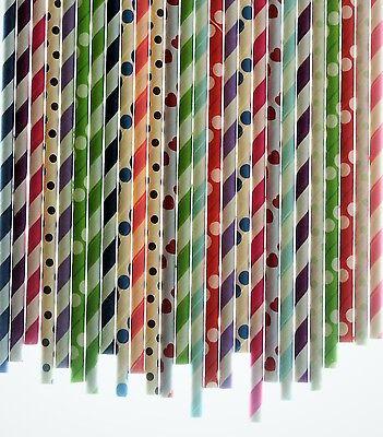 Bulk Pack 200 Paper Drinking Straws Birthday Party Wedding-FREE SHIPPING - Birthday Paper