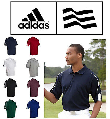- Adidas Golf Polo ClimaLite Three Stripe Pique Sport Shirt A76 S-3XL