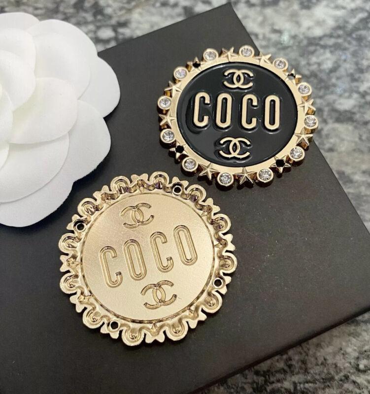 Large Vintage Coco Chanel Rhinestone Star Enamel Gold Metal Sew On Ornament 40mm