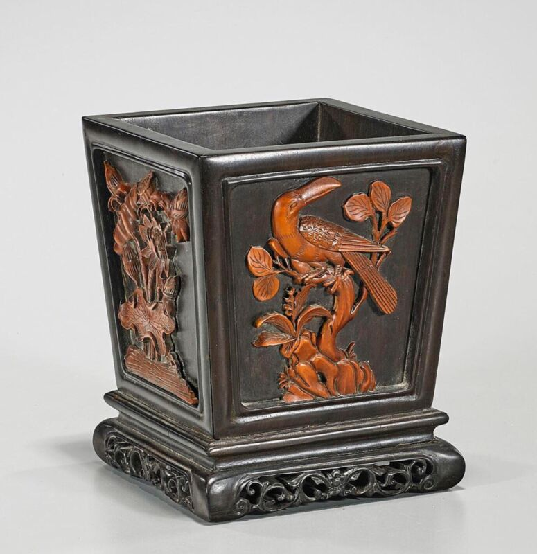 Chinese Carved Hardwood Brush Pot with Birds and Flowers Inlay