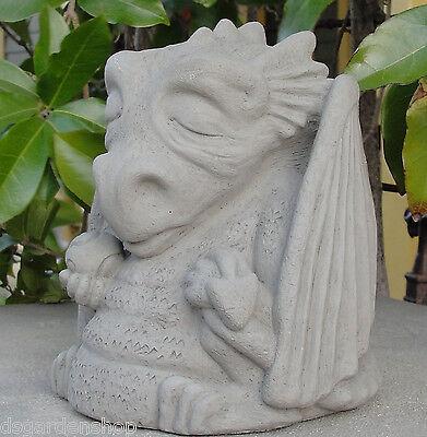 SMALL MEDITATING DRAGON Cast Stone Outdoor Sculpture Garden Statue Figure (A)