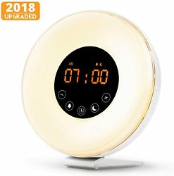 Wake Up Light Digital Sunrise Radio Alarm Clock Multi-Color LED Nature Sounds