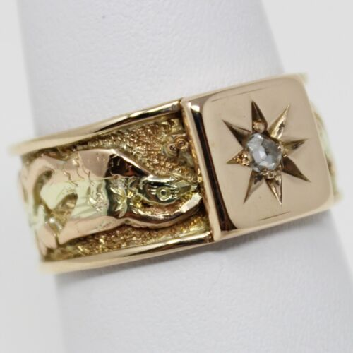 "14 kt Multi-tone Gold Late VICTORIAN Diamond ""Nature Motif"" Ring Sz 7 B2105"