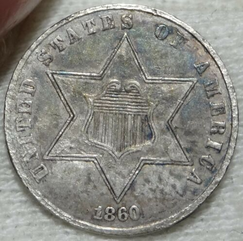 1860 Three Cent Silver Extremely Fine XF EF 3cS Type 3 Variety Three Coin