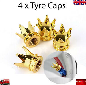 Gold Crown Alloy Car Wheel Tire Tyre Valve Dust Caps Covers Tire Set of 4 UK