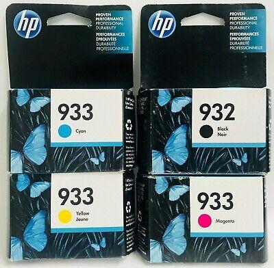 HP Genuine 932 B + 933 C M Y Ink Cartridges Officejet 6100, 6600, 6700, 7110 ()