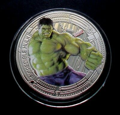 """NEW ZEALAND 2015 SILVER PLATE MARVEL THE AVENGERS """"INCREDIBLE HULK"""" COIN"""