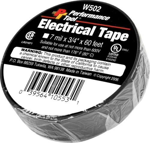 """NEW Performance Tool W502 Electrical Tape, 3/4"""" x 60"""