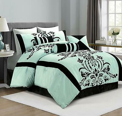 7-Piece Aqua Blue Black Flocked Floral Comforter Set or  4pcs Curtain