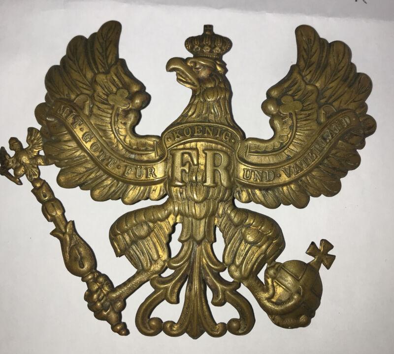 WWI German Prussian Metal Helmet Badge Mit Gott Fur FR Koenig Und Vaterland