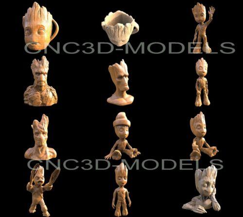 3D STL Models for CNC Router Engraver Carving Artcam Aspire Collection Groot H19