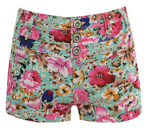 WOMENS LADIES FLORAL HIGH WAISTED 3 BUTTON DENIM STYLE SHORTS UK SIZE 6-14