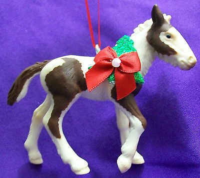 Custom Made Schleich Brown & White Paint Pinto Tinker Horse Christmas Ornament