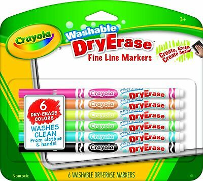 Crayola Washable Dry-erase Fine Line Markers6 Classic Colors Non-toxic Arttools