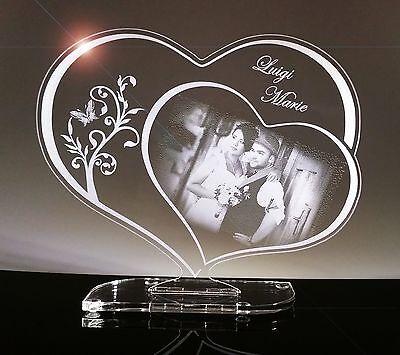 Acryl Schild Herz, Geschenk mit Fotogravur, Gravur, Lasergravur