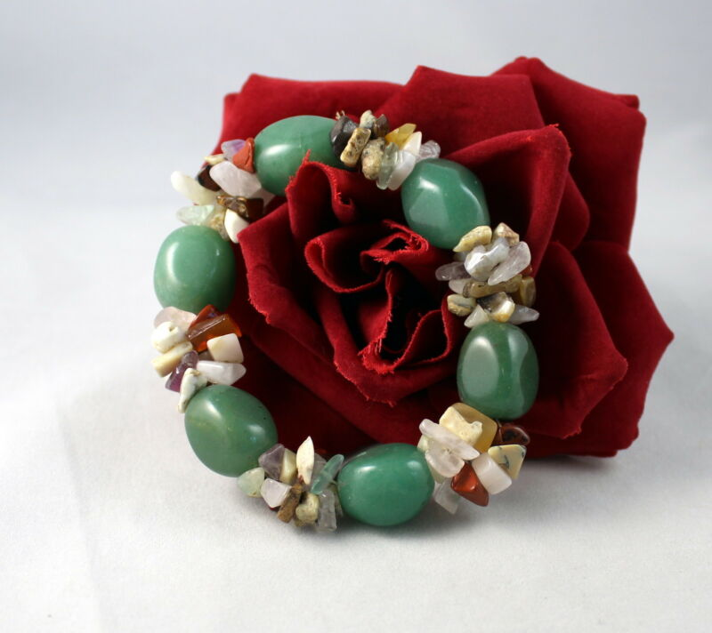 Gorgeous Gemstone Beaded Stretch   Bracelet CAT RESCUE