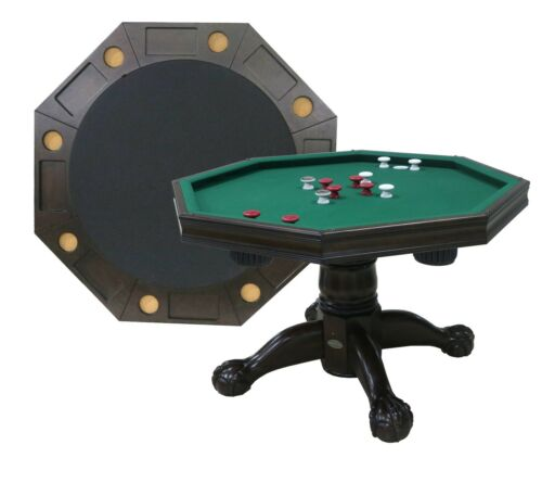 "54"" - 3 in 1 GAME TABLE: BUMPER POOL, CARDS & DINING ~ESPRESSO~ BERNER BILLIARDS"