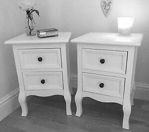 Set of Two Small 2 Drawer BEDSIDE TABLE cabinets in WHITE shabby / chic