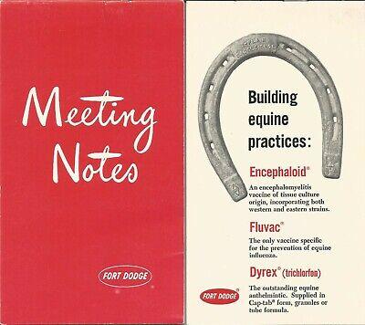 Vintage Fort Dodge Animal Health Meeting Note Pad Vet Equine Medicines