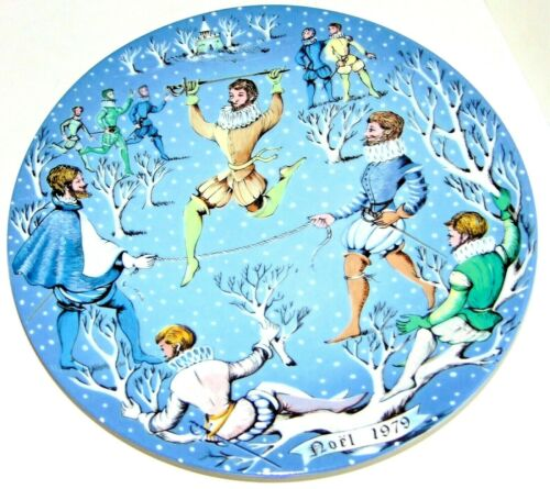 Noel 1979 Haviland Limoges France 12 Days of Christmas Ten Lords a Leaping Plate