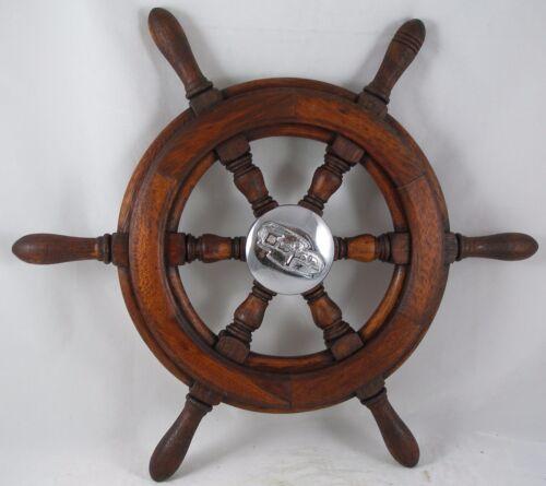 "Antique salvaged Trojan Helm Wheel  Ship wheel   20"" Mahogany"