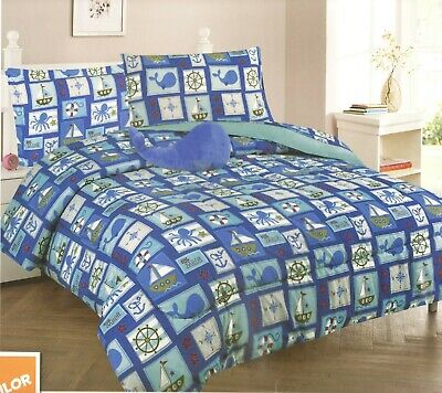 Blue New 6 Pieces Twin Size Kids BOYS BLUE Bed In A Bag Comforter Set, SAILOR for sale  San Diego