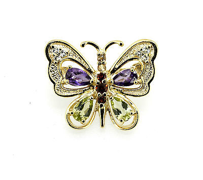 Zauberhafter kleiner Schmetterling Brosche 925er Silber vergoldet, Edelsteine